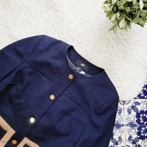 H&M blue and brown colorblock jacket